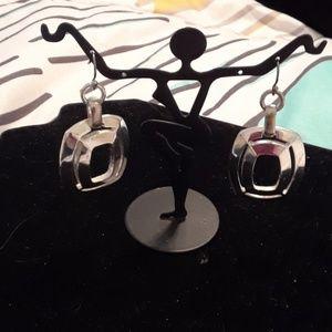 Monet Silvertone wire earrings